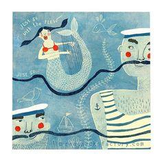'Go with the flow' mermaid print by Nelleke Verhoeff