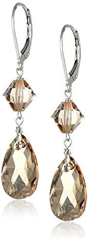 Sterling Silver Swarovski Elements Crystal Golden Shadow Pear Shape and Bicone Drop Earrings Amazon Collection-$29.22 http://www.amazon.com