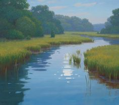 Salt Water Marsh by Sam Vokey puts you right in the Kayak . Pastel Landscape, Watercolor Landscape, Abstract Landscape, Landscape Paintings, Watercolor Art, Pictures To Paint, Nature Pictures, Lake Painting, Country Art