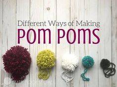 Making pom poms out of yarn, you can use toilet paper rolls or a fork, or chair legs or even a cardboard cutout. The possibilities are endless! Pom Pom Crafts, Yarn Crafts, Craft Stick Crafts, Diy And Crafts, Craft Ideas, Knitting Projects, Crochet Projects, Yarn Projects, Clover Pom Pom Maker