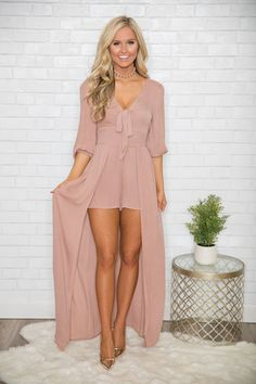 Stylish sophisticate maxi romper - the pink lily Grad Dresses, Casual Dresses, Short Dresses, Summer Dresses, Unique Outfits, Stylish Outfits, Fashion Outfits, Womens Fashion, High Low Romper