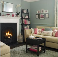 duck egg blue with pink contrast living room