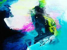 Art abstrait peinture acrylique lagon bleu