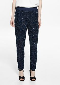 Sequined trousers -  Women | MANGO