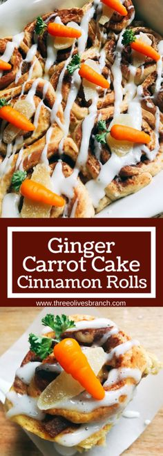 Perfect for Easter breakfast or brunch! Make these rolls in advance for a fast and easy morning treat. Great for holiday and spring parties. Carrot cake base with crystallized candied ginger, walnuts, and carrot cake spices. Topped with a cream cheese glaze. Vegetarian and kid friendly. Ginger Carrot Cake Cinnamon Rolls with Cream Cheese Glaze | Three Olives Branch | www.threeolivesbranch.com