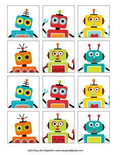 Robot Printable Party - Birthday Banner,  Cupcake Toppers, Hats and more. $14.95, via Etsy.