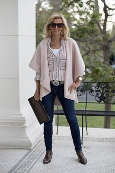 Two More Colors In Our Faux Suede And Shearling Cape Vests styled with our stripe shirt all of which you can wear to the office or any fun outing Fall Fashion Outfits, Fashion Over 50, Autumn Fashion, Casual Outfits, Fashion Trends, Style Fashion, Curvy Fashion, Fashion Bloggers, Plus Size Fashion For Women