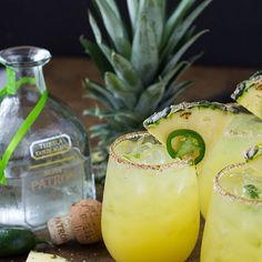 Pineapple Jalapeño Margarita Recipe Beverages, Cocktails with kosher salt, chili powder, lime juice, jalapeno chilies, silver tequila, pineapple juice, triple sec, pineapple wedges, jalapeno chilies