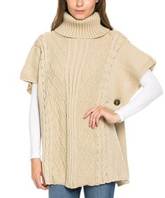 This Taupe Knit Turtleneck Poncho is perfect! #zulilyfinds