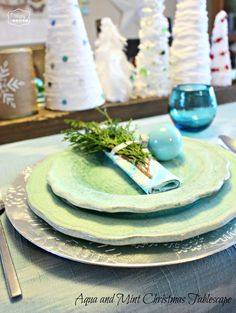 Aqua and Mint Tablescape for Christmas