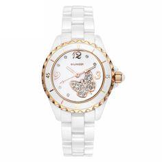 [$93.00] Cute White Ceramic Diamond Butterfly Ladies Quartz Watch - Free Shipping