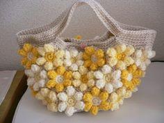 お花モチーフの手編みバッグ イエロー