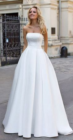 Strapless Beaded Bridal Prom Dress,Simple White Prom Dress,Custom Made Evening Dress,Tee prom dress