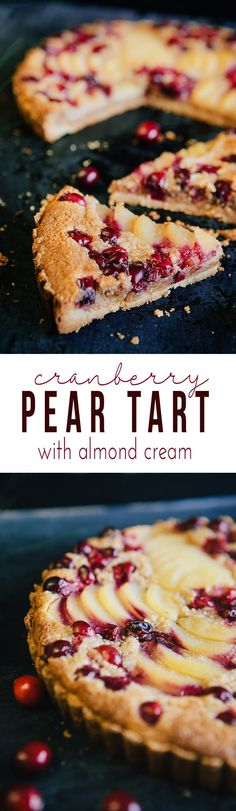 Cranberry Pear Tart with Almond Cream - a stunning and delicious holiday dessert. Our favorite Thanksgiving dessert and Christmas dessert. from @somethewiser