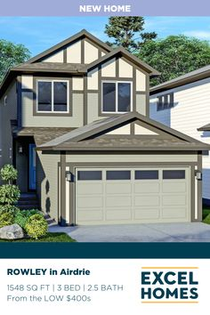 As you enter your new front-drive garage home, the Rowley, you'll be greeted by your boasting great room, where your family can gather and friends can celebrate. Move upstairs to find your master retreat and ensuite, with additional bedrooms on the other end of the home. Check out what else this beautiful home has to offer at ExcelHomes.ca ...hint hint...there's an option basement! #CalgaryHomeBuilder #AlbertaRealEstate #ExcelHomes #bonusroom #3BedroomHome 3 Bedroom Home Floor Plans, House Floor Plans, Small House Design, Dream Home Design, Bonus Rooms, Luxury Vinyl Plank, Tile Installation, Modern Exterior, Exterior Doors