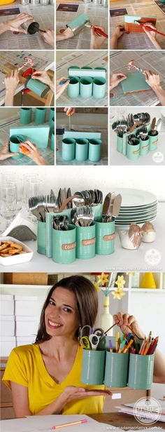 A simple to make supply caddy from tin cans for silverware, crafting tools, pens &pencils....whatever you need!