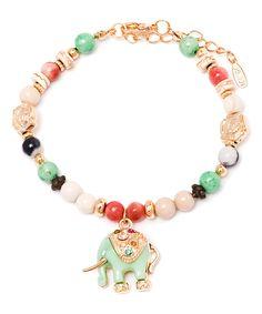 Loving this Multi-Color Swarovski® Crystal Elephant Charm Bracelet on #zulily! #zulilyfinds