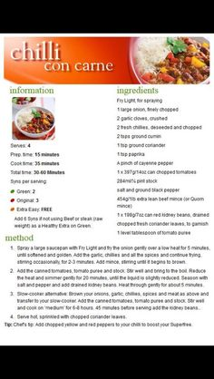 Slimming world chilli con carne