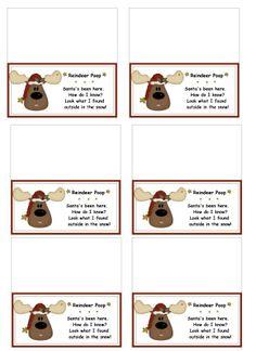 reindeer poop bag toppers - printables