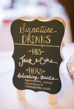 Signature drink signs for your wedding bar - perfect for cocktail hour. Cute wedding signs you need - 2017 wedding trends. Blushing bride.