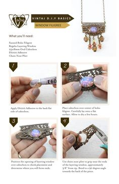 Vintaj DIY Jewelry. Create a stunning vintage style focal! Learn how easy it is to work with our beautiful Designer Series Regalia Layering Window. Simply glue, bend, and wrap...