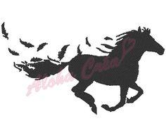 Motif broderie machine ombre/silhouette cheval plume  par AlohaCrea