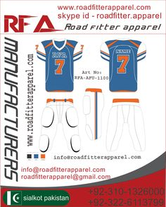 American Football UniformAmerican Football Uniform  Custom Sublimation or Panel Work Made of 100% polyester Heavy Fabric poly/Spandex 86/14 gsm/350 ( Screen Printing / Tekal  Twill Embroidery)  Price: $18.35 http://www.roadfitterapparel.com                                                                                        info@roadfitterapparel.com