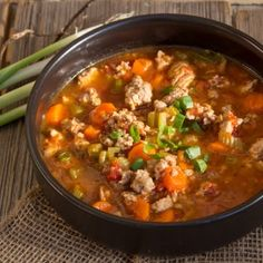 Italian Turkey Burger Soup | Art and the Kitchen | modified it for tonight's dinner (including adding about 1/3 c lentils after it came to a boil. yummy!