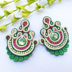 Excited to share the latest addition to my shop: Pink and green soutache earrings Soutache Jewelry Bridesmaid earrings Bridal Jewelry Statement Long Earrings Big Earrings Fashion Earrings Soutache Earrings, Big Earrings, Green Earrings, Bridal Earrings, Bridal Jewelry, Embroidery Jewelry, Beaded Embroidery, Earrings Handmade, Handmade Jewelry