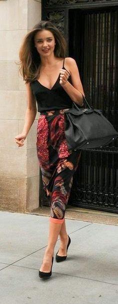 Street style high waist printed skirt