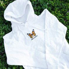 Monarch Butterfly Hoodie (White) Each individual p Stylish Hoodies, Comfy Hoodies, Cute Comfy Outfits, Cute Sweatshirts, Hoodie Outfit, White Hoodie, Aesthetic Clothes, Ideias Fashion, Girl Outfits