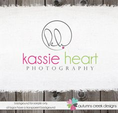 Custom Premade Photography Logo - Circle and Initials Logo with Heart and Watermark Design Name Text Logo. $45.00, via Etsy.