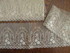 Antique Vintage Edwardian Ivory Lace Trim 2 Pieces