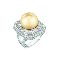 """Chanel – Les Perles de Chanel – """"Perle Royale"""" ring in platinum set with 198 brilliant-cut diamonds with a total weight of 3 carats, 22 baguette-cut diamonds with a total weight of 3.5 carats and 1 cultured South Sea pearl 15mm in diameter"""