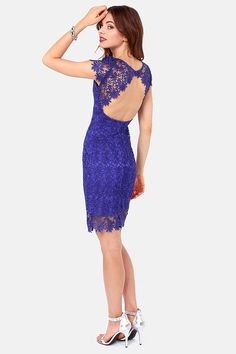 Rubber Ducky Suite Life Backless Royal Blue Lace Dress at LuLus.com! #lulus #holidaywear