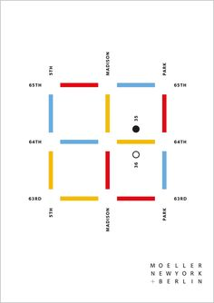 """Stunning minimalist map from Apeloig, for Moeller Fine Art Gallery.  (A """"We're Moving!"""" map.)  Perfect in every way.  (Though I'm not fond of the colours.)"""