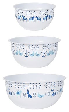 Amazon.com: Now Designs Mix and Serve Steel Bowls, Set of Three, Meadowland: Kitchen & Dining