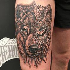 By Tattoo artist Niels de Kok Wolf, Polynesian, Mandala, Blue Eyes, Tattoo shop Memories, TSM, upperleg Tattoo, Boyfriends leg, Netherlands