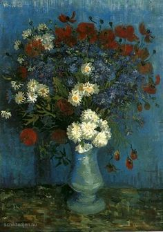 """Painting """"Vaas met korenbloemen en klaprozen"""" by Vincent van Gogh - www.schilderijen.nu"""
