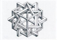 Impossible on Behance Isometric Cube, Isometric Drawing, Penrose Triangle, Triangle Art, Geometric Shapes Art, Geometric Designs, Art Optical, Optical Illusions, Geometry Art