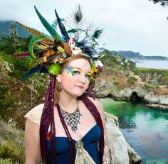 Forest Meets Ocean Feather Headdress, Mermaid Headdress, Headband, Woodland Headdress, Peacock Headdress, Festival Wear, Burning Man by rainbowgoddessdesign on Etsy