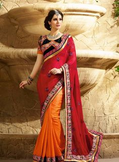 Red & Orange Jacquard half and half saree with blouse D15466