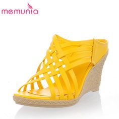 MEMUNIA 2017 Women high heels sandals summer shoes fashion narrow band party shoes leisure comfortable ladies wedges shoes
