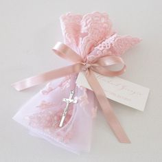 Pink Lace Bag Rosary Beads Christening Bomboniere