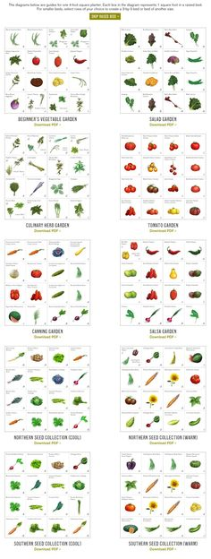 Plant-A-Grams: Beginner's garden plan, canning garden, salad garden, northern cool garden, etc