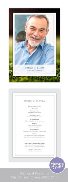 Simple, clean and modern memorial program template for Dad - Marigold Order of Service Design. Have this customized by a professional Graphic Designer for only $99.90. Designed by Memory Press, available at memorypress.co