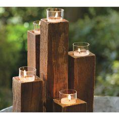 Elm Wood Pylon Candelabra // Viva Terra // $14- looks easy to make yourself