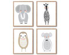 Baby Nursery Decor, Safari dier afdrukken, babyolifant, Baby uil, Baby Mouse Baby Zebra, dierlijke kunst afdrukken, afdrukken instellen, Baby dier