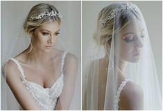 MORNING MIST veil + CASHMERE crown Wedding Headpieces, Wedding Veils, Wedding Dresses, Bridal Bun, Bridal Lace, Side Chignon, Cathedral Veils, Lace Silk, Bridal Looks