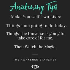 This is a fun trick i learned from Abraham Whenever you are overstressed or overwhelmed stop and create two lists. What you REALLY want to do today and what things the universe can help you with today. Take a deep breath Then watch the magic unfold as eve Positive Thoughts, Positive Vibes, Positive Quotes, Chakra, Tarot, Long Term Illness, Meditation, Way Of Life, Spiritual Growth